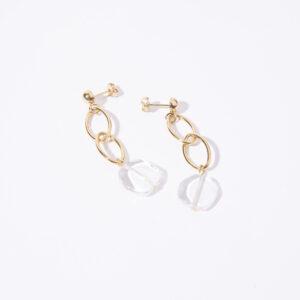 Boucles d'oreille Flap doré et transparent Pivoines and love