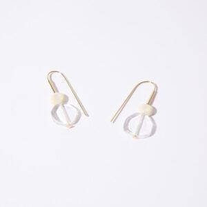 Boucles d'oreille Hop perles ivoire et transparente